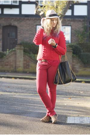 red Primark jeans - black leopard print Topshop boots - camel fedora TK Maxx hat