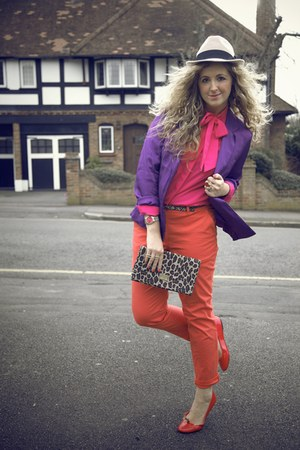 camel TK Maxx hat - purple tesco blazer - dark brown H&M bag - red Primark flats