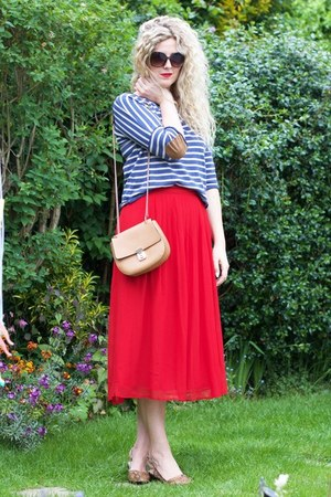 red Forever 21 skirt - blue striped Zara sweater