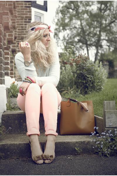 coral River Island jeans - camel bought on ebay Zara bag - light blue H&M jumper