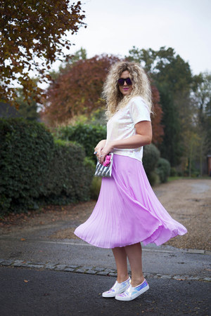 bubble gum pleated skirt asos skirt - white sequined Glamorous top
