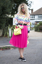 black H&M shoes - yellow Primark bag - hot pink H&M skirt