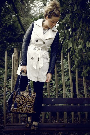 black leather H&M jacket - beige trench Primark coat