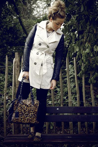 black leather H&M jacket - beige trench Primark coat