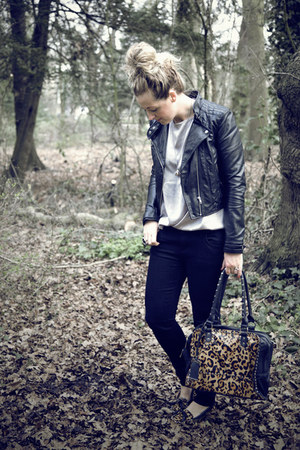 black Primark jeans - black H&M jacket - silver H&M top - dark brown Zara flats