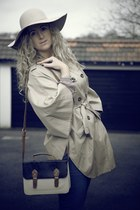 blue Primark jeans - tan TK Maxx hat - tan H&M jacket - navy Primark bag - nude