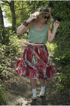 red vintage skirt - chartreuse Primark top - light pink Primark flats