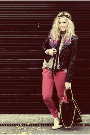 red Primark jeans - black leather biker H&M jacket