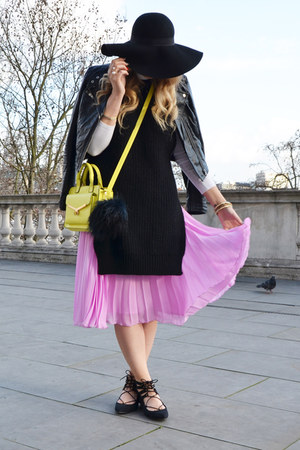 bubble gum pleated midi asos skirt - black leather biker asos jacket