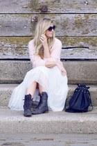 black Matalan boots - light pink fluffy H&M sweater - white tutu Boohoo skirt