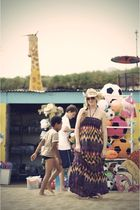 purple Primark dress - yellow thailand hat - gold H&M sunglasses
