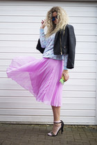 bubble gum asos skirt - dark gray leather biker Miss Selfridge jacket