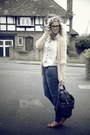 Blue-primark-jeans-black-vintage-bag-red-primark-flats-mustard-vintage-car