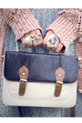 Navy-satchel-primark-bag-sky-blue-pleated-vintage-dress