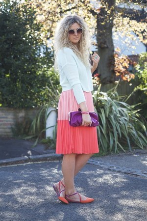 salmon sugarhill boutique skirt - aquamarine H&M sweater - orange Zara flats