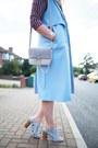 Brick-red-shirt-dress-primark-dress-sky-blue-boohoo-blazer
