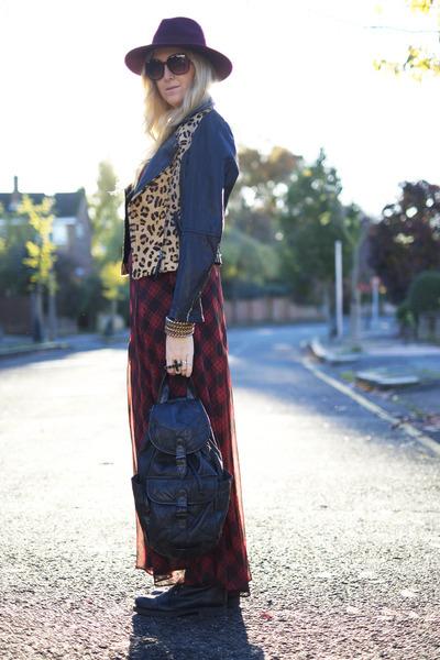 black biker Zara boots - ruby red tartan maxi F & F dress