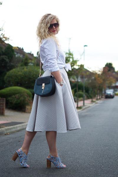 white oxford shirt Gant shirt - teal drew bag Chloe bag - heather gray H&M skirt