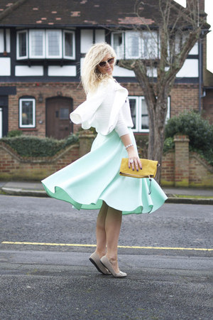 aquamarine asos skirt - white asos sweater - mustard clutch Mulberry bag