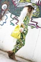 green tropical print Topshop romper - yellow bucket Topshop bag