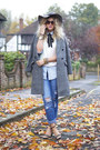 Charcoal-gray-checked-tags-on-coat-blue-new-look-jeans