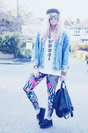denim Levis jacket - Boohoo hat - front row society leggings - Primark t-shirt