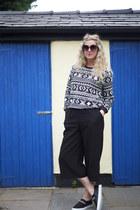 black coulottes asos skirt - black aztec Forever 21 sweatshirt