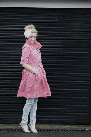 pink Primark coat - blue H&M jeans