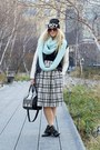Black-office-boots-black-urban-outfitters-jacket-aquamarine-old-navy-scarf