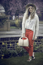 carrot orange H&M pants - off white new look blouse - neutral tesco cardigan