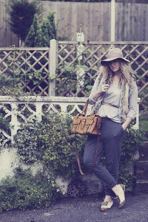 gray H&M pants - gray H&M top - brown River Island shoes - brown Market - beige