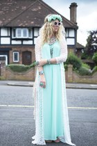 white kimono Missguided cardigan - aquamarine Missguided dress