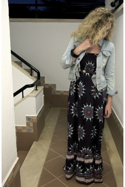 purple Primark dress - blue H&M jacket - gray H&M vest - black Newlook shoes - p