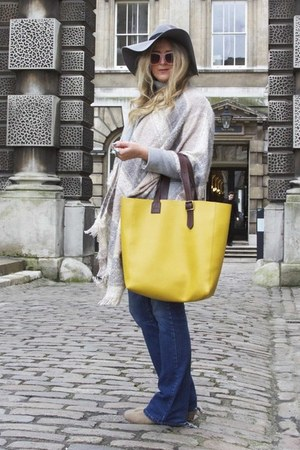 yellow tote aspinal of London bag - heather gray boyfriend F&F coat