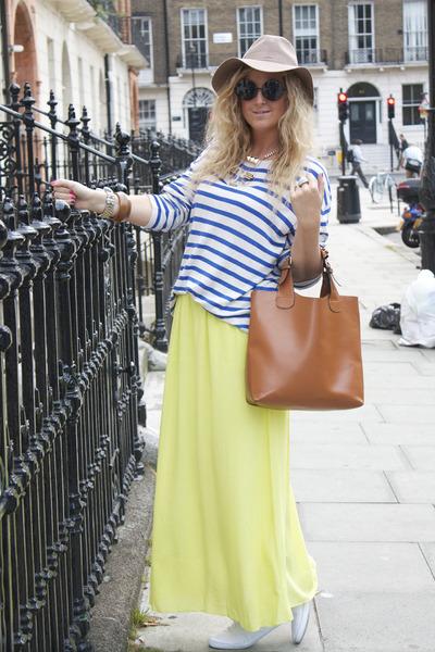 lime green maxi new look skirt - brown bucket Zara bag - black OASAP sunglasses