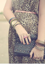 Dark-brown-pleated-maxi-new-look-dress-black-studded-clutch-primark-bag
