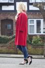 Red-vintage-coat-blue-asos-jeans-black-asos-sunglasses