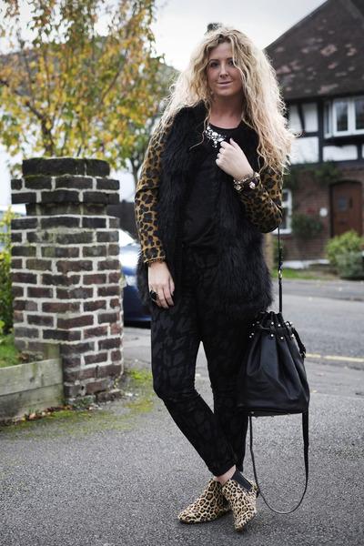 tan leopard print Topshop boots - black F&F jeans - tan leopard print H&M blazer