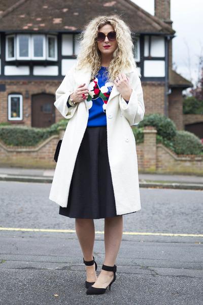 blue OASAP jumper - white Topshop coat - black H&M skirt - black Primark heels