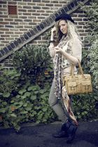 green Primark jeans - black Market boots - beige H&M top - beige Market - black