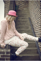 pink bowler H&M hat - black Dr Martens boots - pink floral Primark jeans