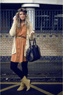 Mustard-market-boots-burnt-orange-primark-dress-black-collette-bag-mustard