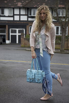 light blue Vero Moda jeans - light blue flea market bag - light blue Primark blo