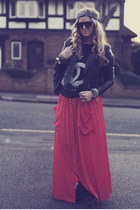 carrot orange maxi verycouk skirt - black biker H&M jacket