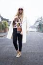 White-topshop-coat-black-great-plains-jeans-bubble-gum-topshop-sweater