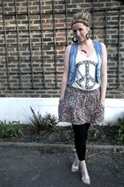 blue Primark vest - black H&M leggings - blue Zara skirt - white H&M top - black
