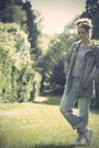 Green-thrifted-jacket-gray-thrifted-sweater-blue-h-m-jeans-white-converse-