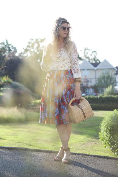 off white lace OASAP blouse - red full skirt H&M skirt