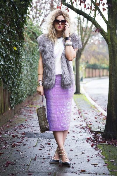 light purple asos skirt - heather gray fur stole Miss Selfridge scarf