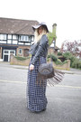 Navy-jovonna-london-dress-charcoal-gray-fedora-h-m-hat